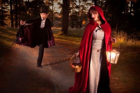 Red riding hood being chased by the big bad wold