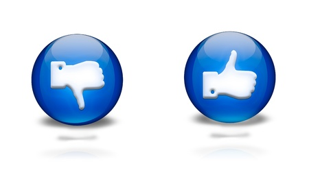 blue circular icons with thumbs up or down photo