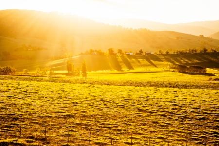 Australian sunset over a farm