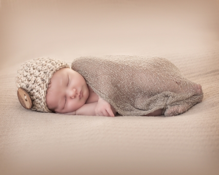 newborn baby: Newborn with Beany Stock Photo