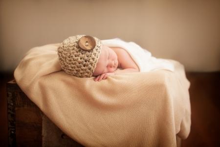 Little newborn girl sleeping