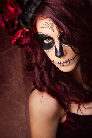 tribal woman: Sugar skull Stock Photo