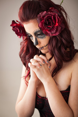 mexican girl: Day of the dead celebration in Mexico