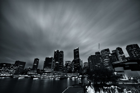 Long exposure image of the hussle and bussle in Circular Quay, Sydney Australia