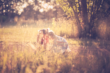overexposed: Two little girls enjoying the great outdoors