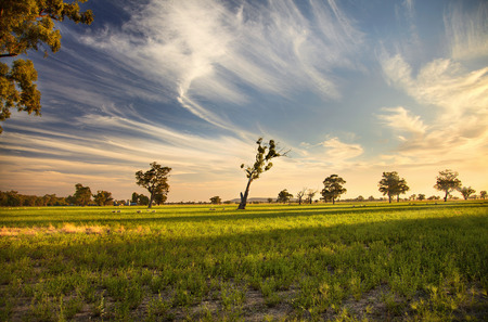 A sunset over outback Australia Stock Photo