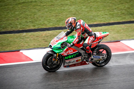 Sepang, Malaysia - October 29, 2017 SHELL MALAYSIA MOTORCYCLE GRAND PRIX 2017 Rider Sam Lowes (Aprilia Racing Team Gresini) before crashing out of the race