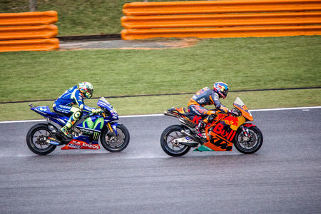 Sepang, Malaysia - October 29, 2017 SHELL MALAYSIA MOTORCYCLE GRAND PRIX 2017 Rider Valentino Rossi (Movistar Yamaha MotoGP) overtaking Bradley SMITH (Red Bull KTM Factory Racing) on his way to finishing 7th Editorial
