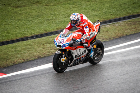 Sepang, Malaysia - October 29, 2017 SHELL MALAYSIA MOTORCYCLE GRAND PRIX 2017 Rider  Andrea Dovizioso (Ducati Team) on his way to victory