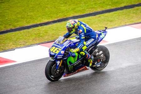 Sepang, Malaysia - October 29, 2017 SHELL MALAYSIA MOTORCYCLE GRAND PRIX 2017 Rider  Valentino Rossi (Movistar Yamaha MotoGP) on his way to 7th place