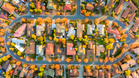 Aerial view of a typical Australian suburb Stock Photo