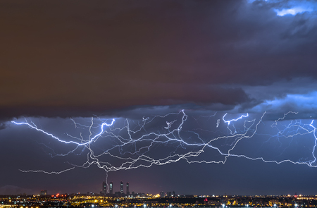 Electric storm over the city of Madrid,Spain