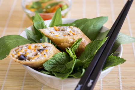 plating: Delicious spring roll appetizer broken open to display the filling served with a fresh herb salad close up high angle view