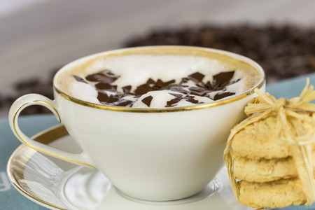 addictive drinking: Porcelain cup and saucer of delicious freshly made aromatic cappuccino topped with milky foam and chocolate flakes served with crunchy golden cookies