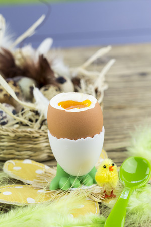 easter morning: Hard boiled egg for Easter morning breakfast served in a cute egg cup with feet on a floral mat with an Easter chick