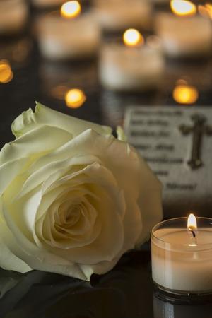 vigil: card funeral black backround memorial candlelight