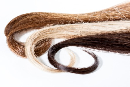Strands of assorted dark, blond and brown hair