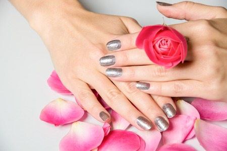 Close up of hands with metallic fingernail paint over spread out pink rose petals Stock Photo