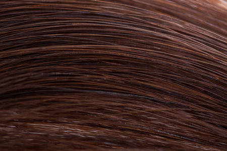 bunched: Close up of long brown hair strands bunched up Stock Photo