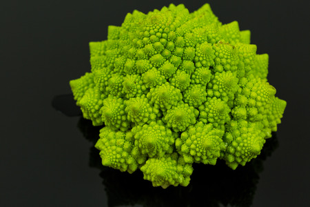 accompaniment: Close up of beautiful star shape florets on romanesco broccoli head over black background with copy space