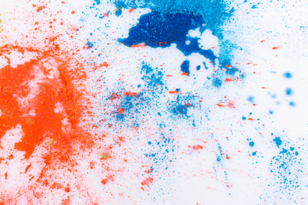 daubs: Abstract splashed and splattered splotches of colorful pink, gold, orange and blue paint over white