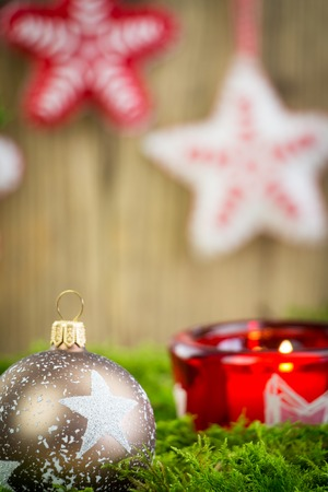 Christmas Themed Background Image with Red and Silver Decorations - Festive Holiday Balls on Lush Greenery