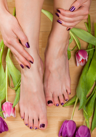 Close up of professionally done pedicure and manicure colored purple by tulips on wood floor Stock Photo