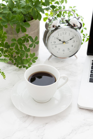 Coffee cup alarm clock open laptop and potted plants on marble table at office