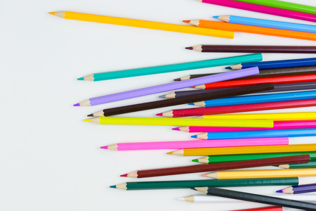 colorful pencils crayons on white table closeup Stockfoto
