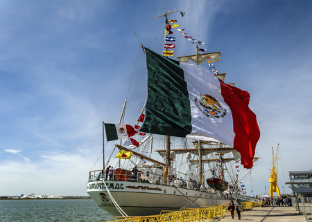 HUELVA, SPAIN, APRIL 15th 2017 Port of Huelva. The mexican sailboat Cuauthemoc does a scale in his trip for the world