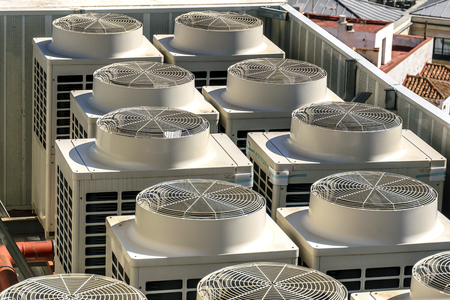 refrigerator: Industrial conditioning machines in the roof of a building