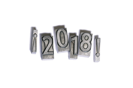 letterpress words: Happy 2018 between exclamation marks types of press