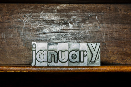 The month of the year January created with movable type printing on a shelf Reklamní fotografie