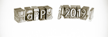 Happy 2019 with types of press isolated