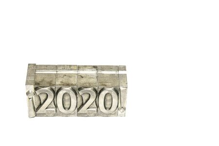 Happy new year 2020 between exclamation marks on background isolated Stock Photo