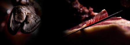 Coupe jambon ibérique, format de bannière longue