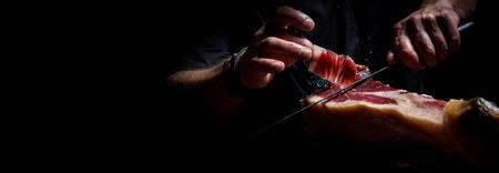 Iberian ham cutter, long banner format 스톡 콘텐츠