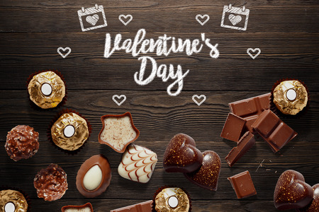 Background with chocolates for valentines day