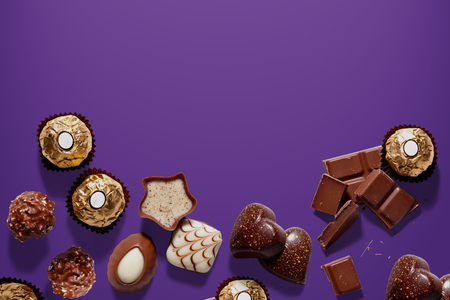 Background with chocolates for Christmas, valentines day or birthday