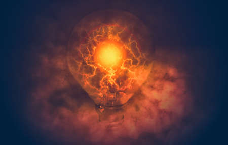 edit of light bulb with electric and smoke Stock Photo
