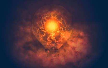 edit of light bulb with electric and smoke Фото со стока