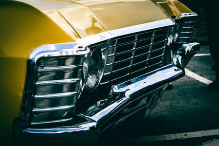 grille: Vintage american muscle car. front bumper Editorial