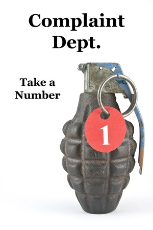 A hand grenade with a number and the caption