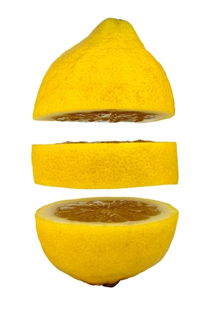 Lemon slices floating in mid air on a white background photo
