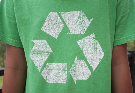 The recycle symbol on a green T-Shirt Stock Photo - 10091761
