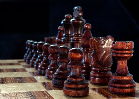 Close up of the start of a game of chess Stok Fotoğraf