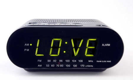 A Clock radio with the word LOVE Stok Fotoğraf