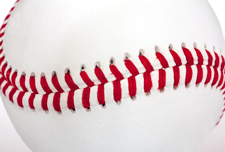 Extreme close-up of the seams of a baseball Stok Fotoğraf