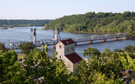 Looking down over the St. Croix River from Stillwater, MN Stok Fotoğraf