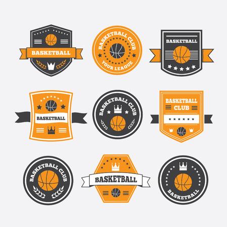 symbol sport: Basketball Set vintage Embleme, Etiketten oder Symbole mit Lorbeerkranz, Basketball Ball, Krone und Sterne
